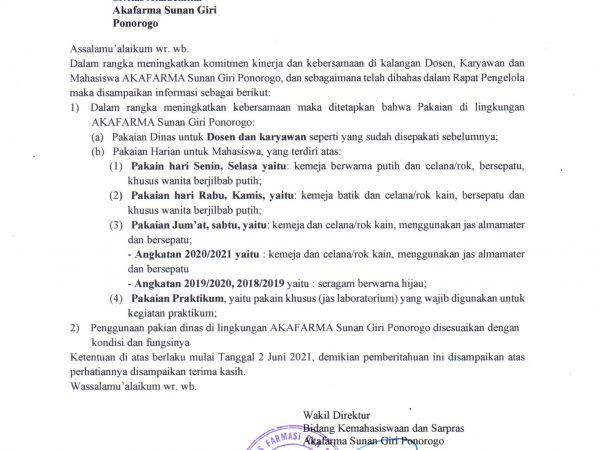 Surat Edaran Pakaian Dinas atau Harian di Lingkungan Akafarma Sunan Giri Ponorogo