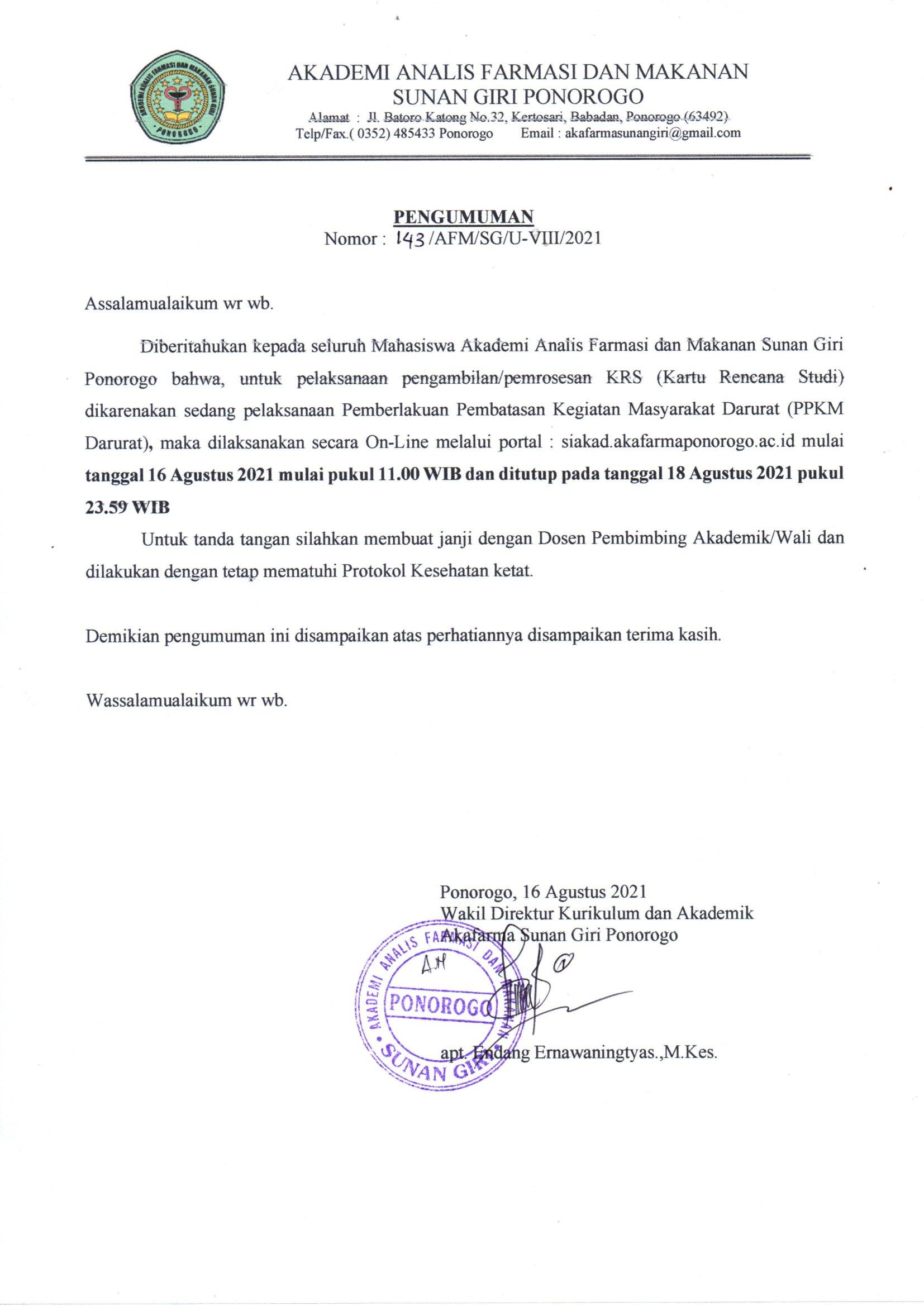 JADWAL KRS MAHASISWA SEMESTER GASAL 2021/2022